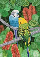 Волнистые попугайчики. РКП-2-013 Схема на атласе для вышивки бисером ТМ Маричка