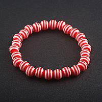 Браслет полосатая бусина на резинке d-8 мм Красный пластик