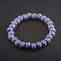 Браслет полосатая бусина на резинке d-8 мм Синий пластик