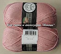 Зимняя пряжа Мерино голд 200 Мадам Трикот, 001, розовый