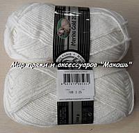 Зимняя пряжа Мерино голд 200 Мадам Трикот, 100, белый