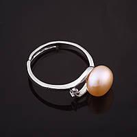 """Кольцо Жемчужина завиток розовая d-9мм без р-р  цвет металла """"серебро"""""""