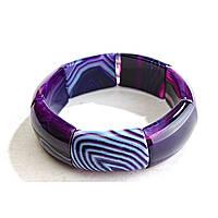 [10 см] Браслет на резинке фиолетовый Агат прямоугольные камни