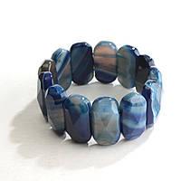 [10 см] Браслет на резинке синий Агат граненный овальные камни