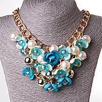 [150/250 мм] Ожерелье масивная цепь Gold  украшенная цветами из стекла металла и жемчуга голубая