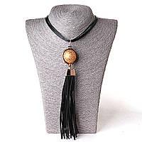 [30 мм] Ожерелье с подвеской дутая Gold сфера с кисточкой из кожзама