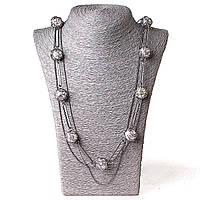 [20 мм] Ожерелье шариковая цепь жемчуг в плетении т.сталь Silver