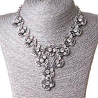 [20 мм] Ожерелье Цвет души крупные очаровательные цветы с ядром страза Silver белый