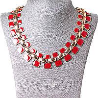 [10-15 мм.] Ожерелье Звенья металл Gold и красная эмаль