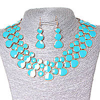 [15х35 серьги мм.] Набор ожерелье + серьги Лава-Лампа, металл Gold и голубой глянец