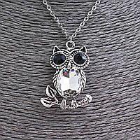 Кулон на цепочке Сова с белыми и чёрными стразами, цвет серебро, 35мм