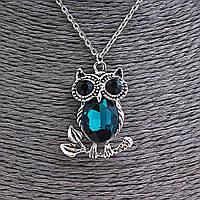Кулон на цепочке Сова на веточке с синим и чёрными стразами, цвет серебро, 35мм