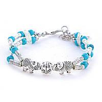 Браслет Слоники двойной с голубыми бусинами, цвет металла серебро