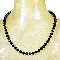 """Бусы """"чешское стекло"""", круглые гранённые бусины 10мм чёрного цвета, длина 70см средняя"""