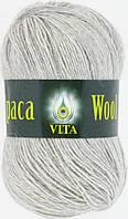 Пряжа Альпака вул Alpaca wool Vita, 2967, светло-серый меланж