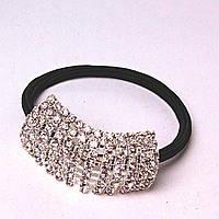 Резинка для волос черная Страза белая светлая сталь