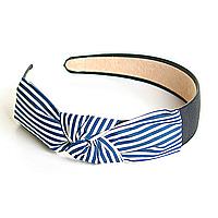 Обруч для волос оптом, широкий, с бантом из ткани в бело- синюю мелкую полоску,11см