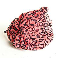 Обруч на голову шляпка розовая с леопардовым принтом и бантом, 12см