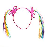 Обруч для волос Хвостики розовый из цветных лент с бантиками, 11см