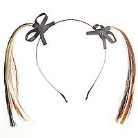Обруч для волос Хвостики из бежевых и чёрных лент с чёрными бантиками, 11см