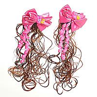 [20/6см] Заколки хвостики кучеряшки с ярко- розовыми бантами и искусственными волосами