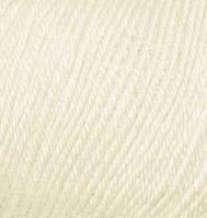 Пряжа зимняя для ручного вязания Бэби вул, 01, крем