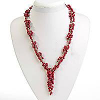 Ожерелье красный Коралл Клюква на цепочке 5-10мм, цвет металла серебро, длина 48см