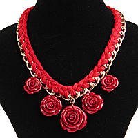 Акция Ожерелье Розы красное полим. глина, цепь, текстиль
