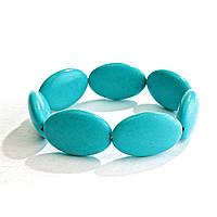 Браслет на резинке голубая Бирюза овальные камни