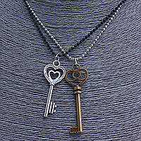 [5/6см] Подвески Дружбы, черная и серая шариковые цепи с кулонами в виде серого и бронзового ключей