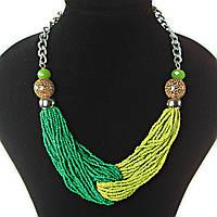 [2-20 мм] Ожерелье на цепочке с украшением из бисера зеленый и салатовый цвет бусин различных размеров, светлый металл и чешское стекло цвет зеленого