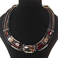 [2,5/3,5 мм] Ожерелье африканский мотив, цвета: золотой, коричневый, черный,  4 ряда, металлические бусины, вставки плетенки и тканевые узоры,