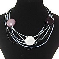 Ожерелье из нитей - черный, серый, белый цвет,  декор - бусины, крупные, круглые