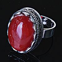 """Кольцо  Сердолик оправа  """"зубчик"""" """"М"""" овальный  камень 2,1*1,6 см без р-р"""
