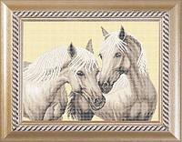 """Схема для полной вышивки бисером на габардине. Арт. ЖБп3-16-1 """"Пара лошадей"""""""