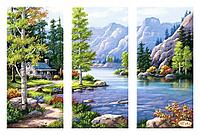 Триптих Горный пейзаж. Артикул: СК-006 Тэла Артис. Схема на ткани для вышивания бисером