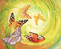 Хоровод бабочек, РКП-351, Ткань с рисунком для вышивания бисером