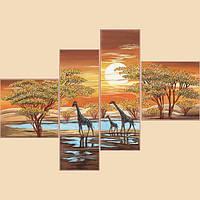 Цвета Африки, полиптих из 4 частей, РКП-1012 Схема на ткани для вышивки бисером
