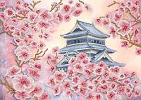 Японская вишня, РКП-346, Ткань с рисунком для вышивания бисером