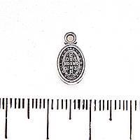 Фурнитура подвеска овал с надписями,13мм,цвет металла серебро