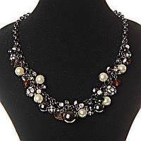 Акция [6-18 мм] Ожерелье цепочки, темные и светлые жемчужины различных размеров и чешское стекло