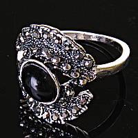 [17,18,19] Кольцо Агат Глаз ажур  черная страза