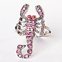 [17,18,19,20] Кольцо скорпион страза розовый