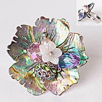 Кольцо без р-р  резное цветок стразы самоцветы халиотис Перламутр