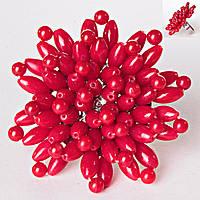 Кольцо без р-р  цветок плетение коралл гибкое крупное