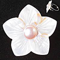 Кольцо без р-р  крупный цветок розовая бусина Перламутр резной