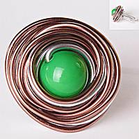 [18,19,20] Кольцо гнездо крученое круг зеленая бусина