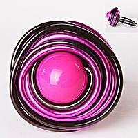 [18,19,20] Кольцо гнездо крученое круг розовая бусина градиент