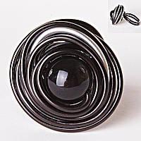 [18,19,20] Кольцо гнездо крученое круг черная бусина градиент