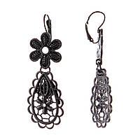 Серьги подвески с ажурными цветами из черного металла,40мм